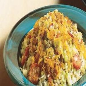 Receita de Arroz com Lentilha, Cebola Frita e Linguiça