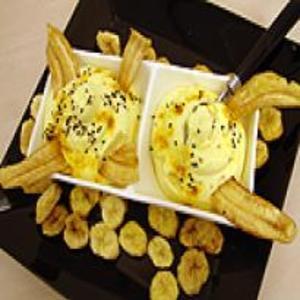 Receita de Banana chips com espuma de açafrão