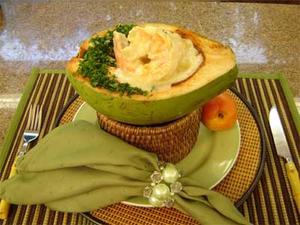 Receita de Camarão com nectarinas e coco verde