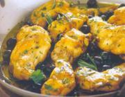Coelho com azeitonas pretas, alecrim e salsa