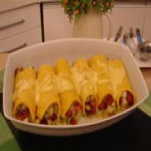 Receita de Crepe de polenta recheado com abobrinha e palmito