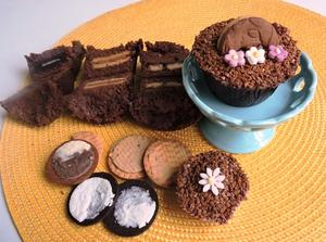 Receita de Cupcake de Chocolate com Biscoito Recheado