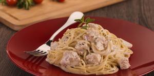 Receita de Espaguete com Frango aos 4 Queijos