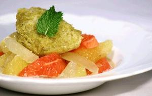 Receita de Espuma de Pistache Com Salada de Cítricos