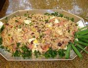 Farofa de arroz, presunto e bacon
