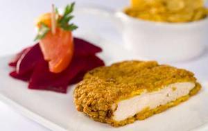 Receita de Filé de frango temperado com creme de leite e empanado