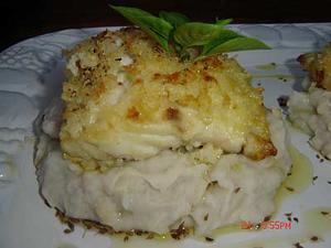 Receita de Filé de peixe em crosta de arroz com purê de inhame