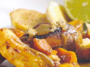 Receita de Frango ao curry com batata-doce e banana