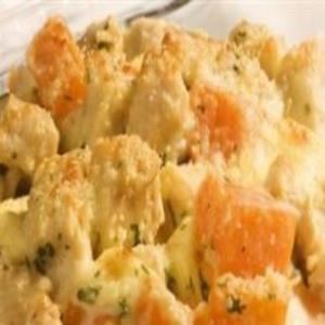 Receita de Frango gratinado com abóbora e queijo