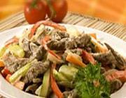 Isca de carne com legumes cremosos