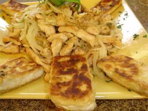 Receita de Iscas de peito de frango com Tofú grelhado