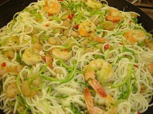 Receita de Linguini da horta e do mar