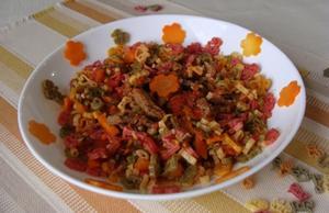 Receita de Macarrão fazendinha com carne e cenoura
