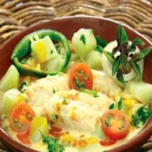 Receita de Moqueca de Bacalhau com Mamão Verde ou Chuchu