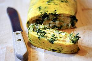 Receita de Omelete rolê de espinafre
