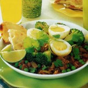 Receita de Ovos com ervilhas e lentilhas picantes