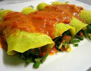 Receita de Panqueca Verde com Recheio de Couve (Vegana)