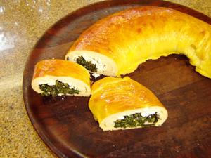 Receita de Pão recheado com espinafre ricota e peito de peru