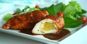 Receita de Peito de frango recheado com mandioquinha e queijo coalho