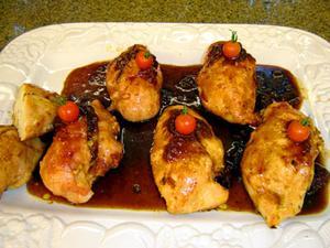 Receita de Peito de frango recheado com ricota e molho de framboesa