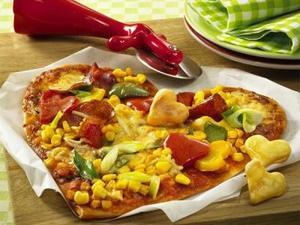 Receita de Pizza Coração Colorida