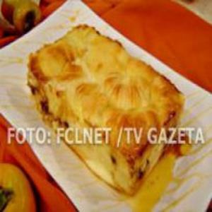Receita de Pudim de pão com caqui e chocolate