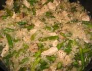 Risoto de frango com aspargo