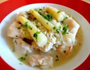 Risoto de frango com aspargos brancos