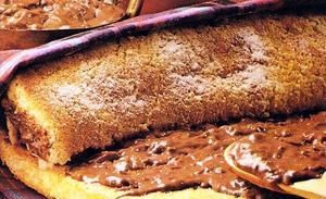 Receita de Rocambole com Creme de Chocolate e Damasco