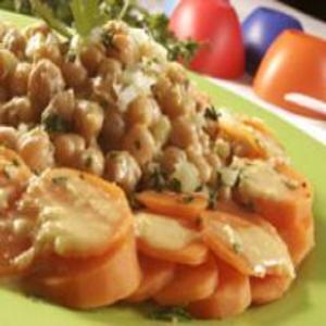 Receita de Salada de grão-de-bico e cenoura