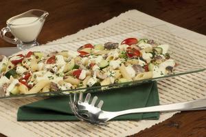 Receita de Salada de Penne com Lentilha e Sardinha ao Molho de Iogurte