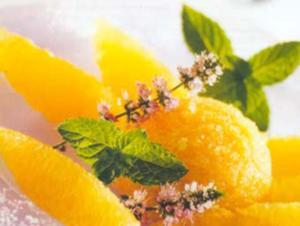 Receita de Sorbet de manga sobre leito de laranjas