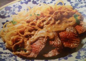 Receita de Spaghetti com lombo de porco e molho de mostarda