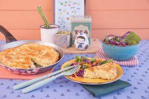 Receita de Torta de Gorgonzola, Mussarela e Batata de Frigideira