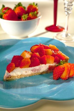 Receita de Torta Light de Ricota e Morango