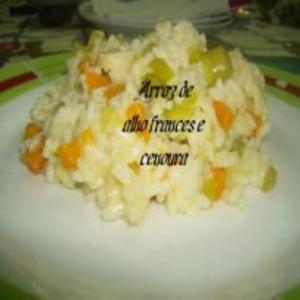 Receita de Arroz de Alho Francês e Cenoura