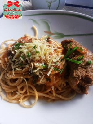 Receita de Bife á Rolê com Spaghetti