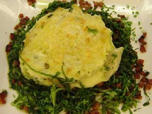 Receita de Brandade de bacalhau gratinado em leito de couve