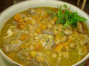 Receita de Cozido de frango com grão de bico e abóbora