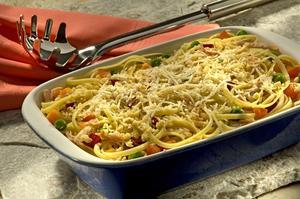Receita de Espaguete com Frango e Legumes Salteados