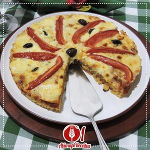 Receita de Pizza Marguerita de Macarrão