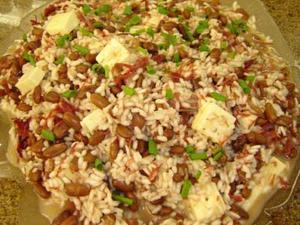 Receita de Risoto de feijão, carne seca e queijo de coalho