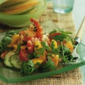 Receita de Salada de camarão, melão e manga