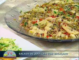 Receita de Salada de Lentilha com Bacalhau