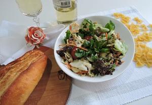 Receita de Salada de Macarrão ao Molho de Agrião e Bacalhau