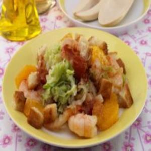 Receita de Salada picante de camarão com couve chinesa