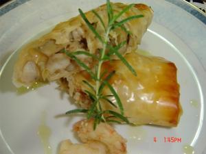 Receita de Strudel de alcachofra e camarão