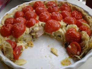Receita de Torta de Tomates Cereja e Fundo de Alcachofra